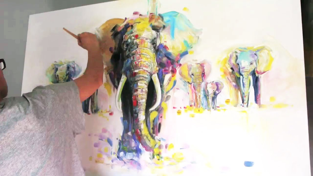 Time Lapse Oil Speed Painting Elephants Youtube