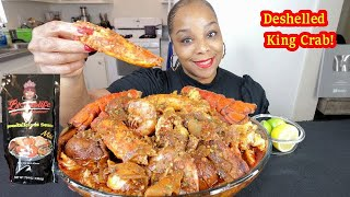 DESHELLED SEAFOOD BOIL! KING CRAB + LOBSTER TAILS DRENCHED IN SPICY BLOVES SAUCE!