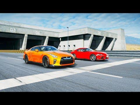 2019 Toyota GR Supra RZ vs 2017 Nissan GT-R Drag Race! Gran Turismo Sport thumbnail