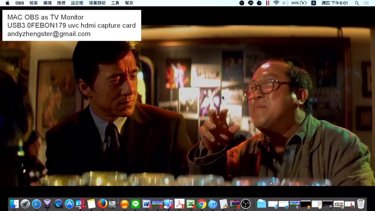 MAC OBS as TV monitor ( USB3 0 FEBON179 HDMI capture card)
