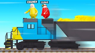 STEALING GOLD From A Moving TRAIN! (Rubber Bandits)