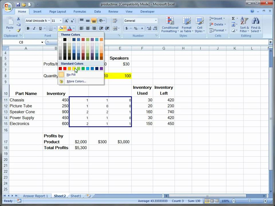 Using Excel Solver in Excel 2007 - YouTube