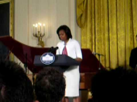 First Lady Michelle Obama speaks on Jazz at the White House Music Education Series:  Jazz Studio