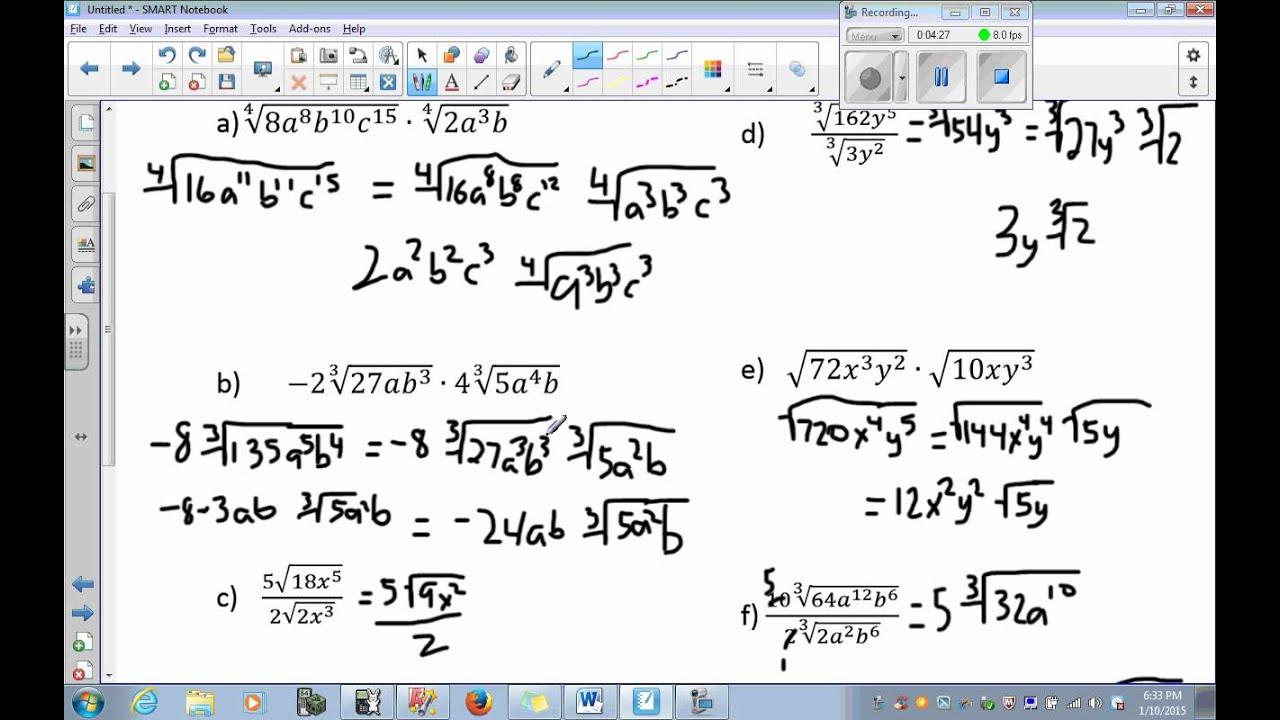 worksheet Exponents And Radicals algebra 2 unit 5 day part simplifying exponents and radicals radicals