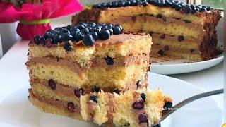 Торт ягодный без весов без миксера быстрый бисквитный торт