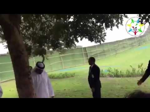Mohammed bin Zayed watering a tree planted by Sheikh Zayed in India in 1974.