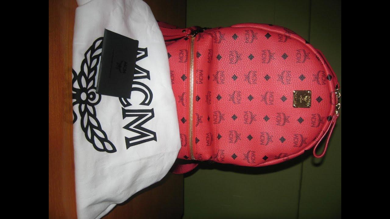mcm backpack medium stark with side studs red youtube. Black Bedroom Furniture Sets. Home Design Ideas