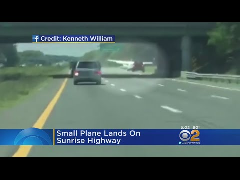 Small Plane Lands On Sunrise Highway