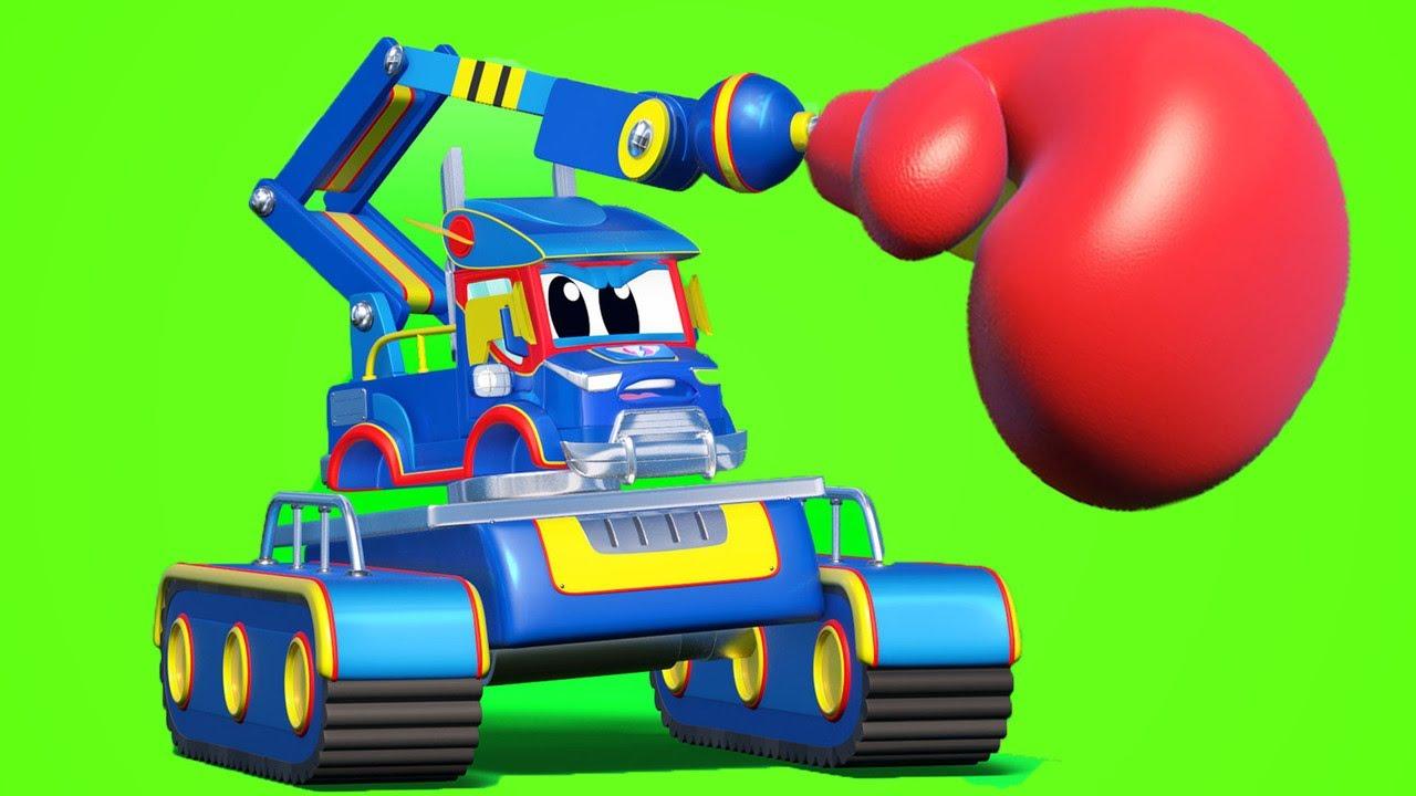 Video truk untuk anak-anak - JACKHAMMER menyelamatkan hari! - Truk Super di Kota Mobil!