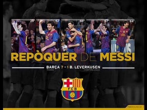 Messi scores 5 goals against Bayer Leverkusen (7-1) Season 2011/12