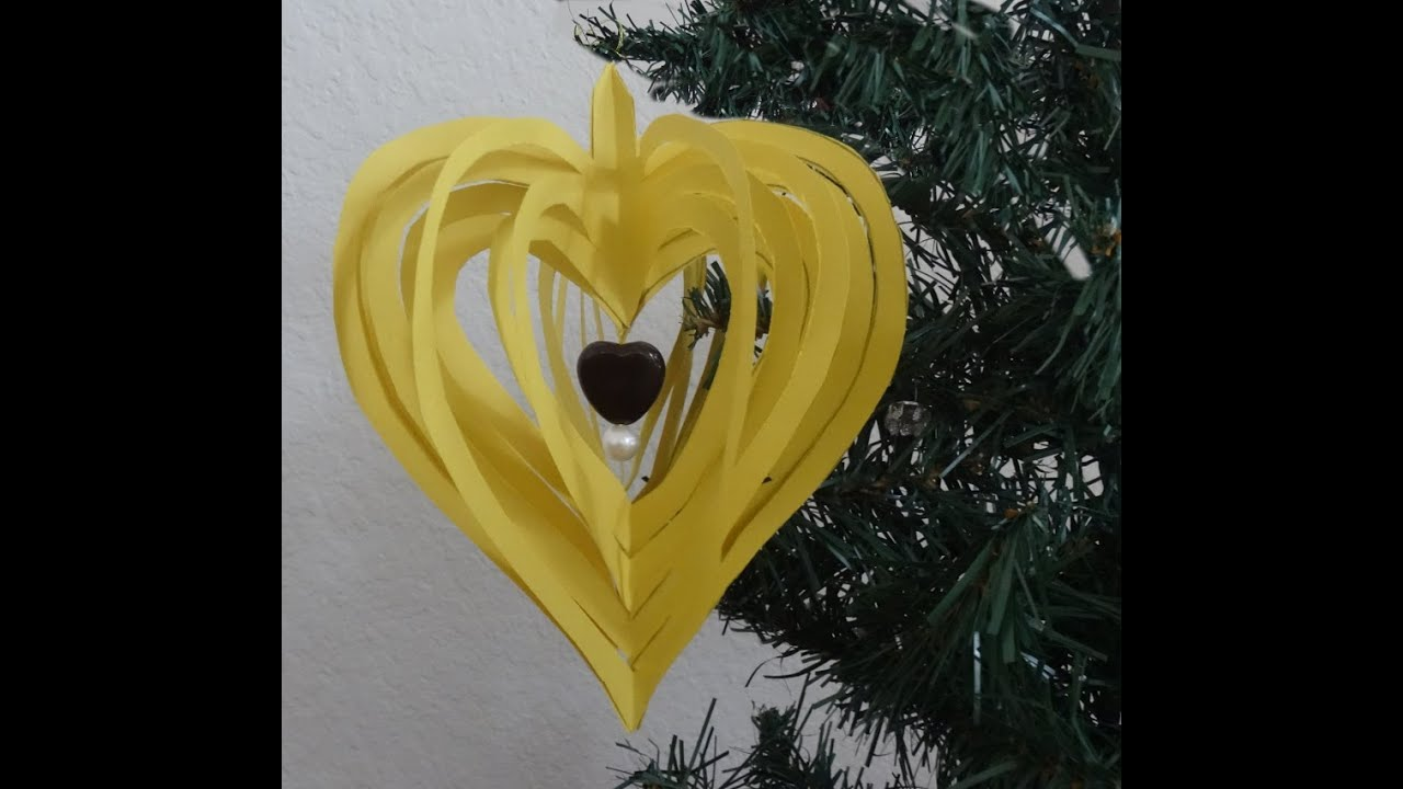 How to make quick and easy paper heart design / Christmas paper ...