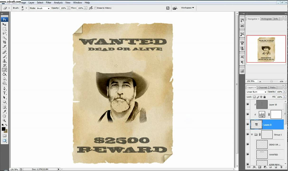 Photoshop Tutorial Part 3 Make A Western Style Wanted Poster