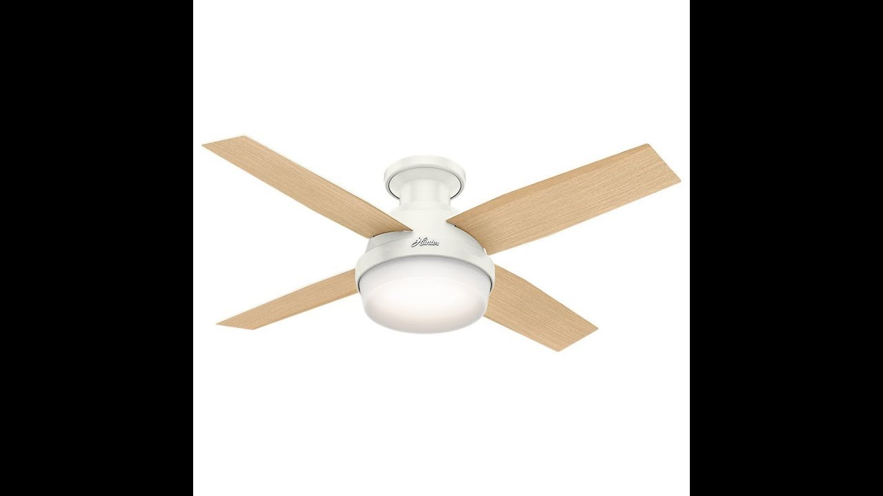 Hunter 59244 Dempsey Low Profile Fresh White Ceiling Fan With Light Remote