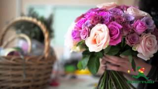 Букет из живых цветов. Лиловые розы(, 2014-10-16T13:17:27.000Z)