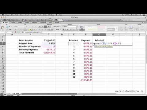 Microsoft Excel Tutorial: PPMT Function