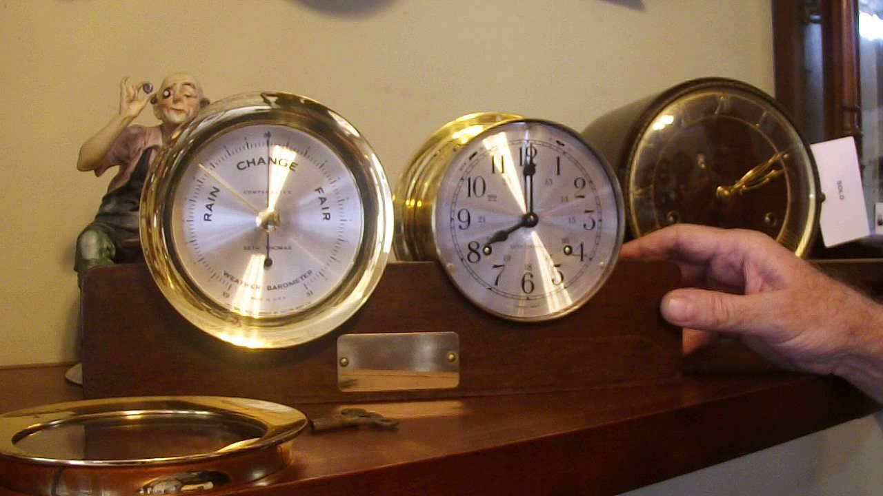 Seth Thomas Corsair Ships Clock And Barometer Set With Base Youtube