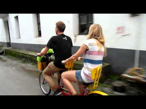 Agness and Cez from etramping.com on a tandem!