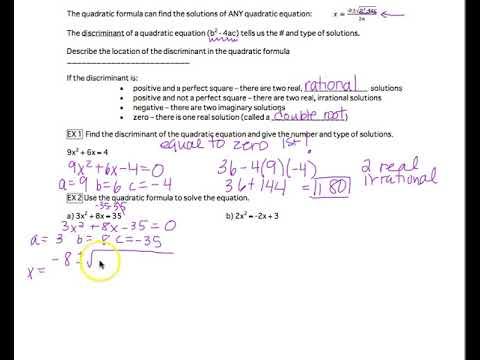 9-2 The Discriminant and Quadratic Formula - YouTube