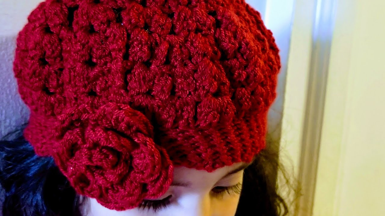 👭Como Tejer Gorro Para Niñas en Crochet(ganchillo) con Punto Bodoque 28e017fab07