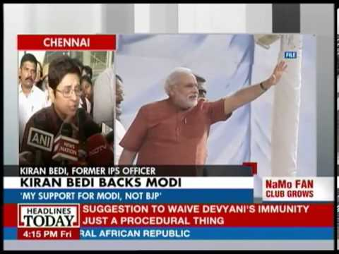 Kiran Bedi backs Modi
