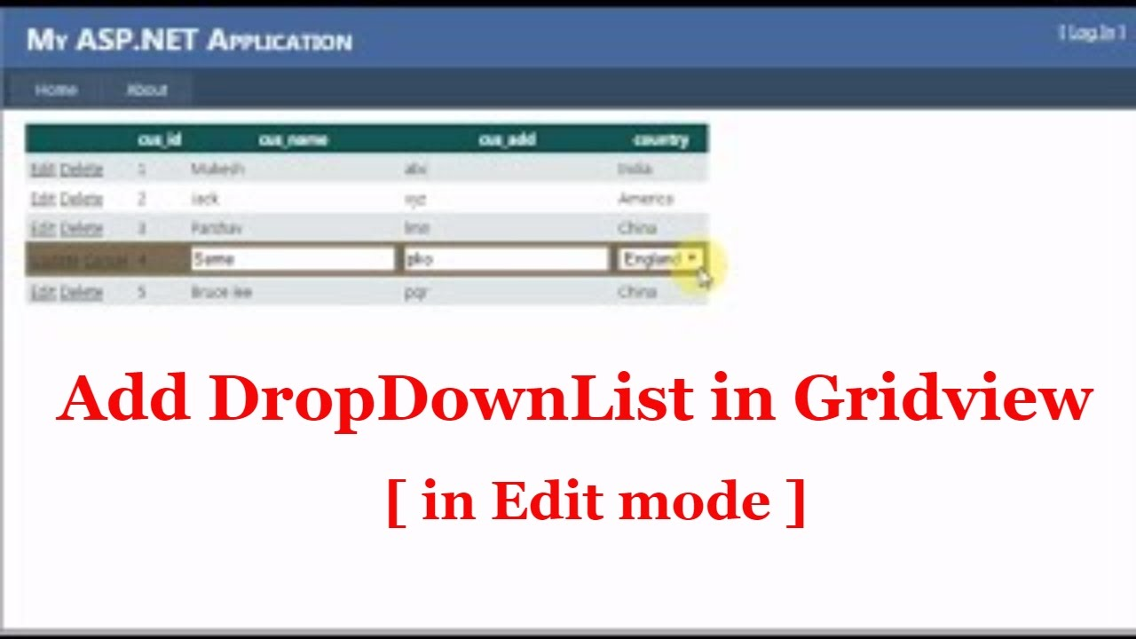 How to Use dropdownlist in gridview in Edit mode -ASP Net