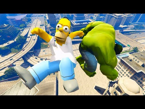 GTA 5 Hulk & Superman Vs Homer Simpson Ragdoll Compilation | (GTA 5 Fails Funny Moments Ragdolls)