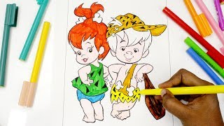 colouring Flintstone Kids, Colouring Pages for kids, Learning Colours for Children