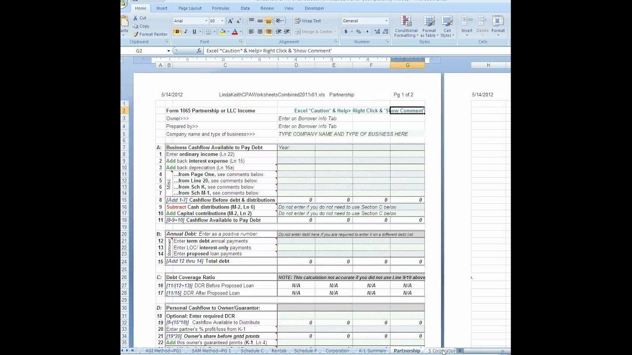 Global Cashflow Worksheet For Tax Return Analysis Youtube