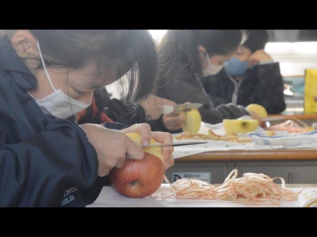 リンゴの皮18メートルむき栄冠は妹に 愛知の小学校