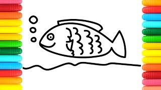 Coloring Pages Colorful Rainbow Fish Drawing |Art Colors for Kids | How to draw Animals