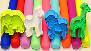 Пластилин Плей до Учим Цвета Учим Животных Лепим Слон Зебра Лев Жираф Развивающее видео Для малышей