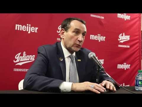 Mike Krzyzewski reacts to win at Indiana