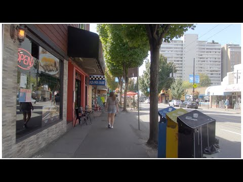Walking In Downtown Vancouver Canada. Nelson Park - Comox Street - Denman St. West End Area Life.