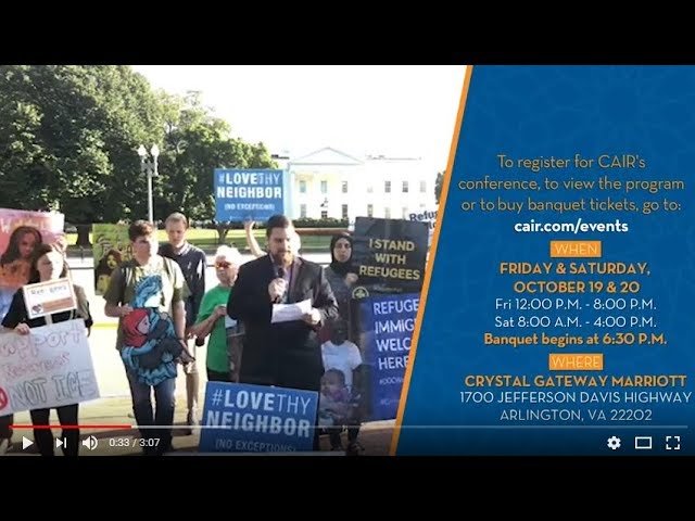 Video: CAIR Rep at White House Rally Against New Low Refugee Admissions Cap