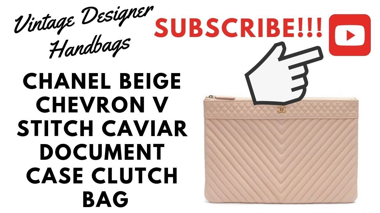 b9b5bb5bcc1891 VDB CHANEL BEIGE CHEVRON V STITCH CAVIAR DOCUMENT CASE CLUTCH BAG. Vintage  Designer Handbags
