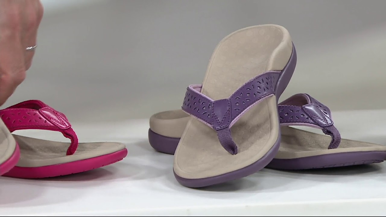 616748789a8b84 Vionic Leather Thong Sandals - Tide Anniversary on QVC - YouTube
