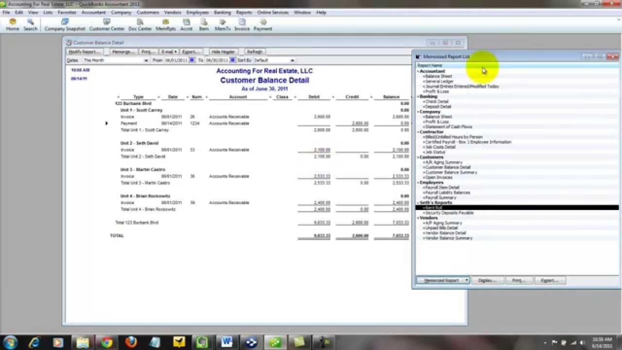 QuickBooks For Real Estate - How To Create a Rent Roll Report ...