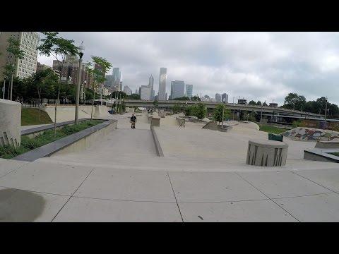 Grant Park Skatepark Chicago IL Park Walk Through.  Grant Park Plaza Chicago.