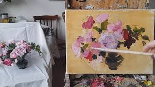 """Живопись маслом. Этюд """"Английские розы"""""""