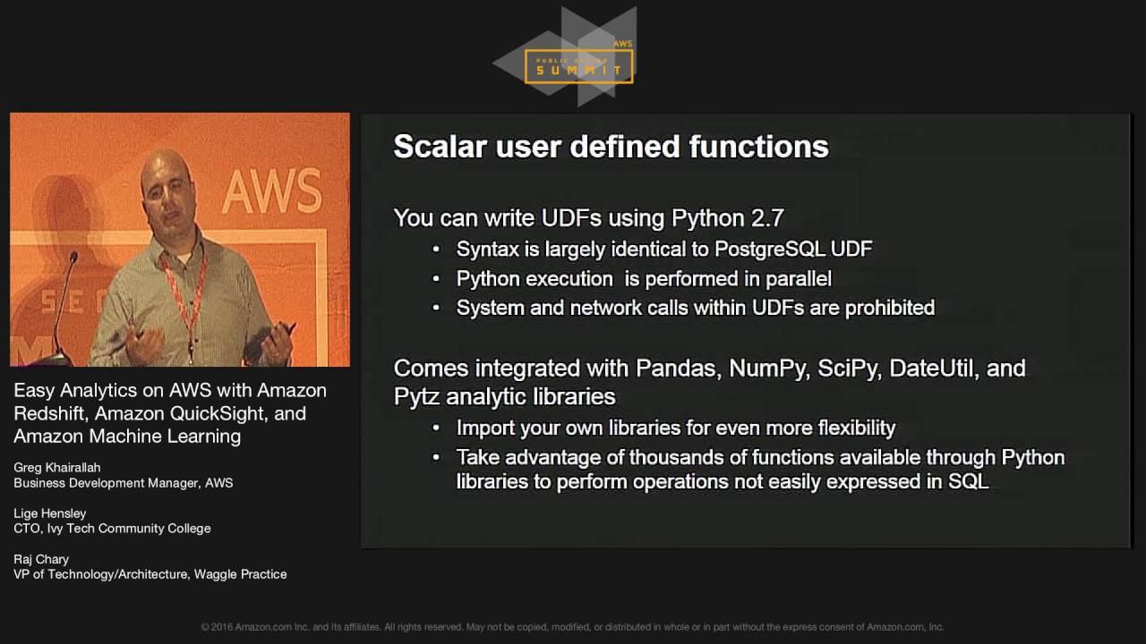 Easy Analytics on AWS with Amazon Redshift, Amazon QuickSight, and Amazon  Machine Learning