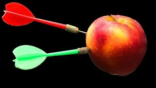 Experiment: Dart Toy vs Fruits include Apple, Orange, Watermelon, Water Balloons Slow Motion