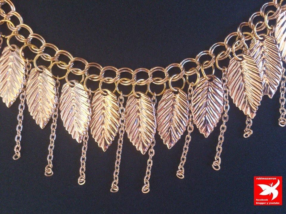 4d4f5cec14c4 Collar de moda dorado con hojas y cadenas - YouTube