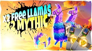 *X2 Free Llamas* MY BEST LLAMA OPENING SO FAR! | Mythic | Fortnite Save The World