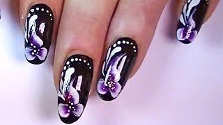Дизайн ногтей. Роспись ногтей - цветы. Красивый маникюр.