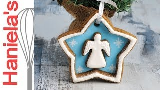 How To Decorate Christmas Angel Cookie Decoration With Royal Icing, Gingerbread Collaboration