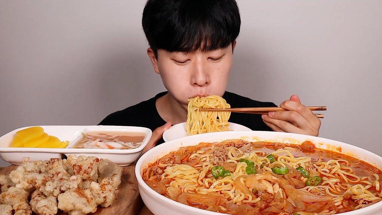 얼큰한 차돌박이짬뽕 찹쌀탕수육 먹방ㆍASMR SPICY Noodles BEEF BRISKET JJAMBBONG Sweet and sour pork MUKBANG eating