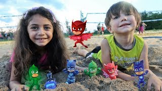 Pj Masks Surprise Toys Buried In Sand - Family Kids Fun Video