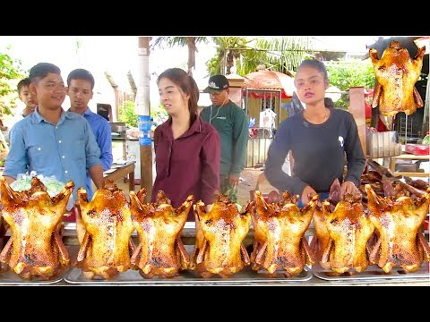 Grilled Ducks, Fried Chickens, Fried Ducks at Takeo & Kampot Province | Street Foods in Cambodia