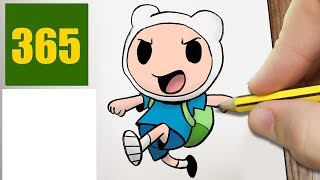 HOW TO DRAW A FINN CUTE, Easy step by step drawing lessons for kids