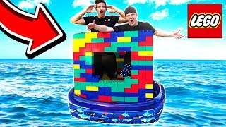 BUILDING GIANT LEGO BOAT HOUSE ON WATER! (With UnspeakableGaming & MooseCraft)